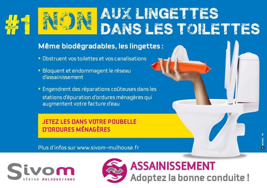 Non aux lingettes dans les toilettes