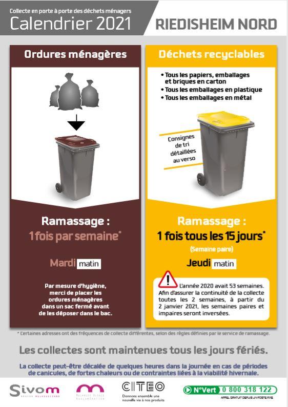 Calendrier de collecte des déchets 2021 à Riedisheim   Riedisheim